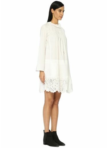 Zadig&Voltaire Etek Ucu Dantelli Mini Elbise Beyaz